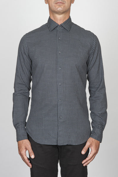 Strategic Business Unit - 00413 - Camicia Classica In Cotone Collo A Punta A Quadri Grigia E Nera - Classic Point Collar Plaid Cotton Grey And Black Shirt - 古典的なポイントの襟チェック柄のコットングレーと黒のシャツ