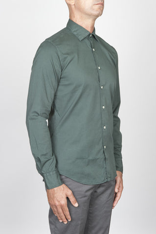 Strategic Business Unit - 00425 - Camicia Classica In Cotone Lavato Collo A Punta Verde Scuro - Classic Point Collar Washed Cotton Dark Green Shirt - 古典的なポイントの襟洗浄綿濃い緑色のシャツ