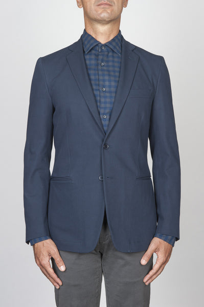 Strategic Business Unit - 00437 - Giacca Sfoderata Monopetto 2 Bottoni In Cotone Elasticizzato Blue - Single Breasted Unlined 2 Button Stretch Cotton Blue Jacket - シングルブレスト裏地なし2ボタンストレッチコットンブルーのジャケット