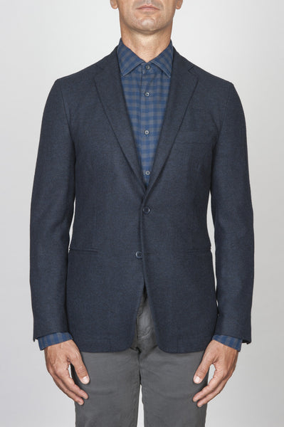 Strategic Business Unit - 00440 - Giacca Sfoderata Monopetto 2 Bottoni In Misto Lana Blue Navy - Single Breasted Unlined 2 Button Mixed Wool Navy Blue Jacket - シングルブレスト裏地なし2ボタンを混合ウール紺のジャケット