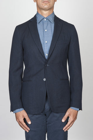 Strategic Business Unit - 00441 - Giacca Sfoderata Monopetto 2 Bottoni In Pura Lana Navy Blue - Single Breasted Unlined 2 Button Pure Wool Navy Blue Jacket - シングルブレスト裏地なし2ボタン純粋なウール紺のジャケット