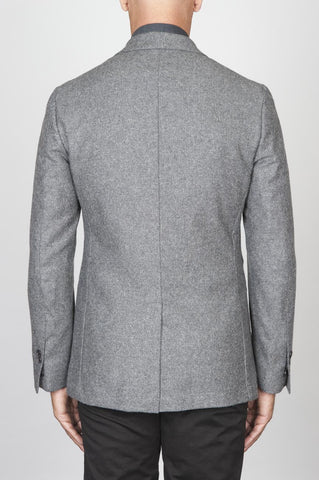 Strategic Business Unit - 00442 - Giacca Sfoderata Monopetto 2 Bottoni In Pura Lana Grigio Chiaro - Single Breasted Unlined 2 Button Pure Wool Light Grey Jacket - シングルブレスト裏地なし2ボタン純毛ライトグレーのジャケット