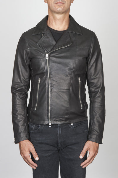 Strategic Business Unit - 00446 - Giubbino Chiodo Da Motociclista Nero In Pelle Di Vitello - Classic Motorcycle Jacket In Black Calf-Skin Leather - 黒のカーフスキンレザーでクラシックなオートバイのジャケット