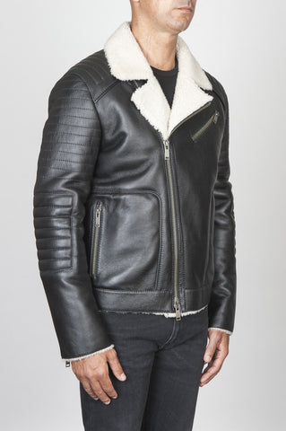 Strategic Business Unit - 00447 - Classic Motorcycle Jacket Nera In Montone - Classic Motorcycle Jacket In Black Sheepskin Leather - 黒シープスキンレザーでクラシックなオートバイのジャケット