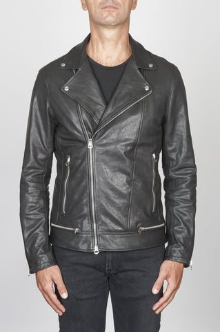 Strategic Business Unit - 00449 - Giacca Chiodo Biker Classica In Pelle Di Vitello Nera - Classic Byker Jacket In Black Calf-Skin Leather - 黒のカーフスキンレザーでクラシックなバイカージャケット
