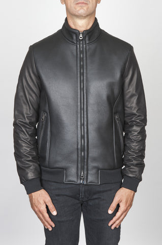 Strategic Business Unit - 00450 - Classic Flight Jacket Nera In Montone Di Agnello - Classic Flight Jacket In Black Lambskin Leather - 黒のラムスキンの革で古典的なフライトジャケット