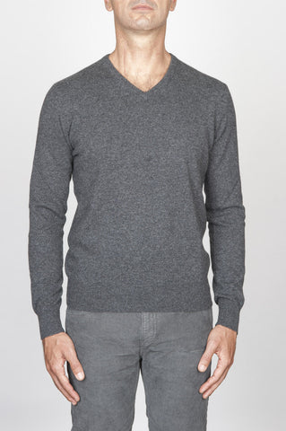 Strategic Business Unit - 00456 - Maglia Classica Scollo V In Puro Cachemire Grigio - Classic V-Neck Sweater In Grey Cashmere - グレーのカシミアでクラシックなVネックのセーター