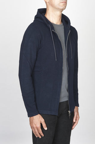 Strategic Business Unit - 00464 - Maglia Con Cappuccio E Chiusura Zip In Misto Cachemire Blue Navy - Cashmere Blend Zipped Hooded Sweater Navy Blue - カシミヤは、zip形式のフード付きセーター紺をブレンド