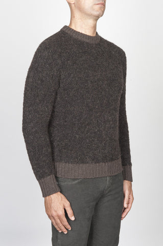 Strategic Business Unit - 00471 - Maglia Classica Girocollo In Misto Lana Merino Boucle Marrone - Classic Boucle Wool Blend Crew Neck Sweater Brown - 古典的なブークレ毛糸ウールブレンドクルーネックセーターブラウン