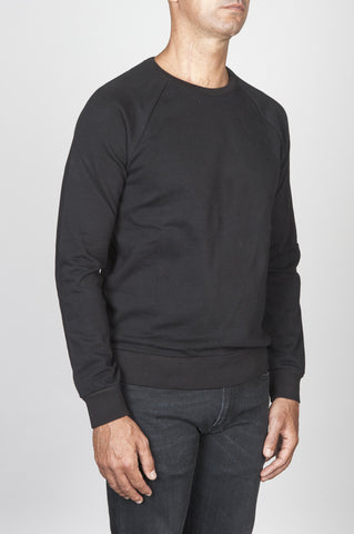 Strategic Business Unit - 00475 - Felpa Classic Girocollo Manica Raglan Jersey Cotone Nera - Classic Crewneck Raglan Sleeve Cotton Jersey Black Sweatshirt - 古典的なクルーネックラグランスリーブコットンジャージ黒のスウェットシャツ