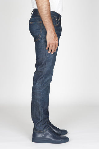Strategic Business Unit - 00491 - Jeans Cotone Tinto Indaco Denim Giapponese Stone Washed Blue - Original Indigo Dyed Japanese Stretch Denim Stone Washed Blue Jeans - 本来のインディゴ染め日本のストレッチデニム石はブルージーンズを洗浄しました