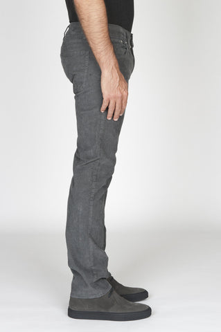 Strategic Business Unit - 00492 - Jeans Velluto Millerighe Stretch Sovratinto Grigio - Jeans Overdyed Stretch Ribbed Velvet Grey - ジーンズoverdyedストレッチリブ付きベルベットのグレー