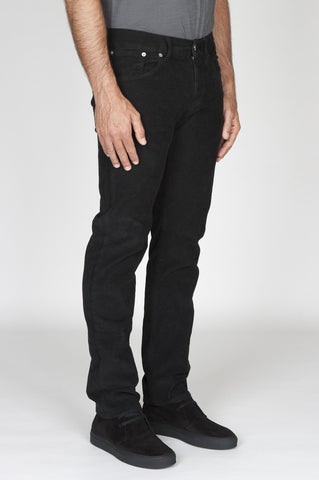 Strategic Business Unit - 00494 - Jeans Velluto Millerighe Stretch Sovratinto Nero - Jeans Overdyed Stretch Ribbed Velvet Black - ジーンズoverdyedストレッチリブ付きベルベットブラック