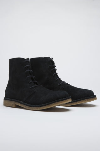Strategic Business Unit - 00497 - Classic Desert Boots High Top Scamosciate Nere - Classic High Top Desert Boots In Black Suede Leather - 黒のスエードレザーでクラシックなハイトップデザートブーツ