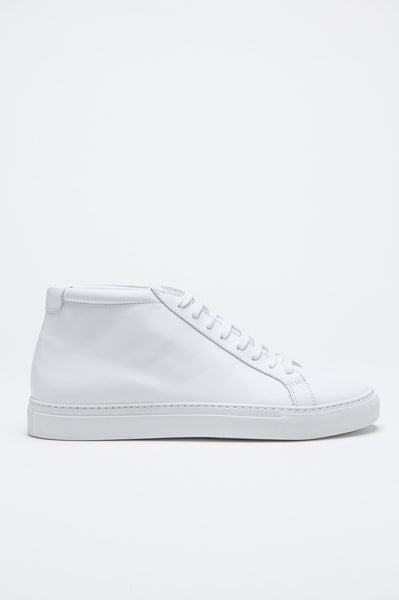 Strategic Business Unit - 00501 - Sneakers Alte Classiche Di Pelle Bianche - Classic Mid Top Sneakers In White Calf-Skin Leather - ホワイトカーフスキンで古典的なミッドトップスニーカー