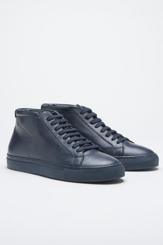 Strategic Business Unit - 00502 - Sneakers Alte Classiche Di Pelle Blue - Classic Mid Top Sneakers In Blue Calf-Skin Leather - ブルーカーフスキンレザーでクラシックなミッドトップスニーカー