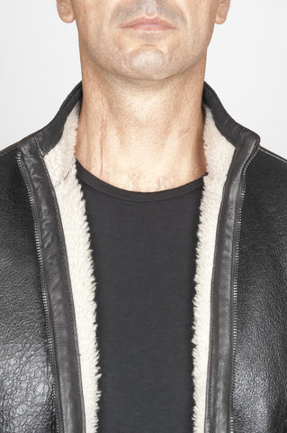Strategic Business Unit - 00528 - Classic Flight Jacket In Montone Invecchiato Nero - Classic Flight Jacket In Aged Black Lambskin Leather - 高齢者のブラックラムスキンの革で古典的なフライトジャケット