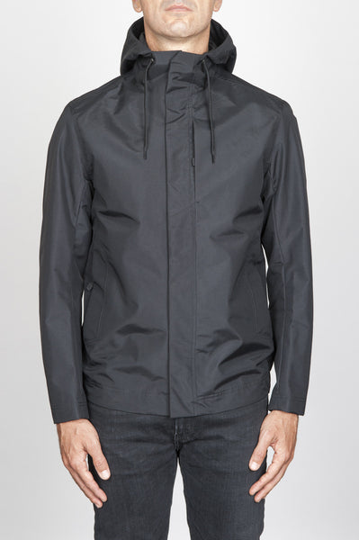 Strategic Business Unit - 00539 - Giubbino Tecnico Antivento Impermeabile Nero - Technical Waterproof Hooded Windbreaker Jacket Black - 技術的な防水フード付きウインドブレーカージャケットブラック