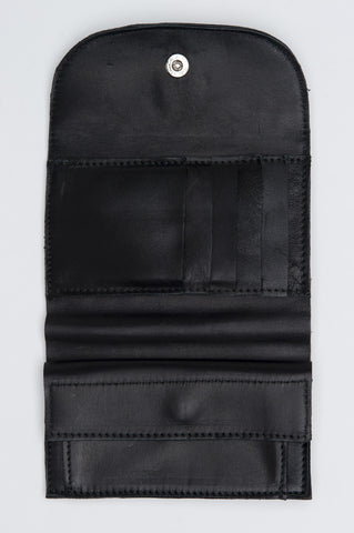 Strategic Business Unit - 00545 - Portafogli Portamonete E Porta Carte Di Credito Di Pelle Nero - Classic Double-Fold Wallet With Coin Pouch In Black Leather - 黒い革コインポーチクラシックダブルつ折り財布