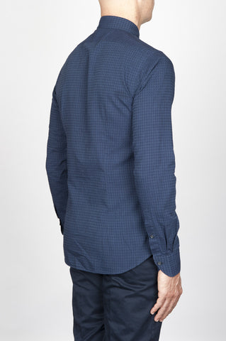 Strategic Business Unit - 00556 - Camicia Classica Collo A Punta In Cotone A Quadretti Grigio E Blue - Classic Point Collar Cotton Grey And Blue Micro Square Shirt - 古典的なポイントの襟の綿のグレーとブルーのマイクロ平方シャツ
