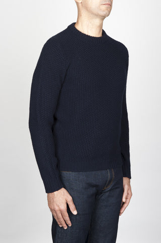 Strategic Business Unit - 00558 - Pullover Girocollo Chicco Di Riso In Pura Lana Blue - Classic Crew Neck Grain Of Rice Mesh Blue Sweater - 米の古典的なクルーネック粒が青いセーターメッシュ