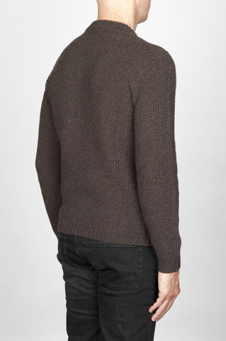 Strategic Business Unit - 00559 - Pullover Girocollo Chicco Di Riso In Pura Lana Marrone - Classic Crew Neck Grain Of Rice Mesh Brown Sweater - 米メッシュ茶色のセーターの古典的なクルーネック粒