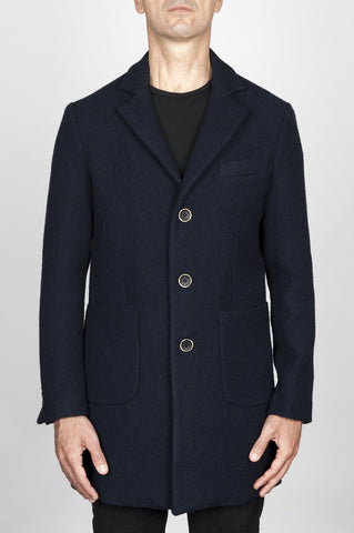 Strategic Business Unit - 00563 - Cappotto Classico Da Uomo Slim Fit Corto Blue - Classic Men'S Slim Fit Short Blue Coat - 古典的なメンズスリムフィットショートブルーコート