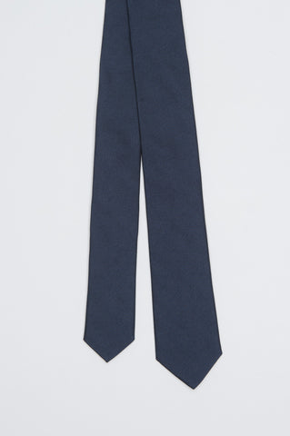Strategic Business Unit - 00575 - Cravatta Stretta Di Seta A Punta Jacquard Blue - Skinny Pointed Tie In Blue Jacquard Silk - ブルージャカードシルクスキニー尖ったネクタイ