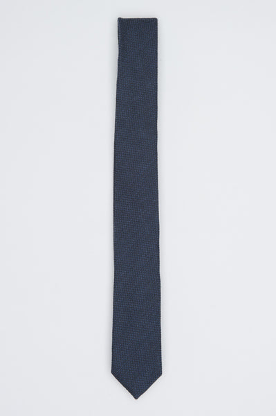 Strategic Business Unit - 00576 - Cravatta Classica Skinny In Lana E Seta Blue - Classic Skinny Pointed Tie In Blue Wool And Silk - ブルーウールとシルクで古典的なスキニー尖ったネクタイ
