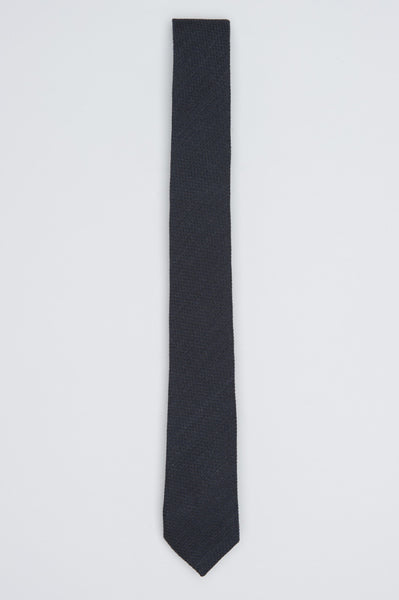 Strategic Business Unit - 00578 - Cravatta Classica Skinny In Lana E Seta Nera - Classic Skinny Pointed Tie In Black Wool And Silk - 黒のウールとシルクで古典的なスキニー尖ったネクタイ