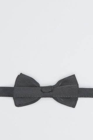 Strategic Business Unit - 00582 - Papillon Annodato In Raso Di Seta Pois Grigio - Classic Ready-Tied Black And White Silk Satin Jacquard Bow Tie - 古典的な黒縛ら対応と白のシルクサテンジャガード蝶ネクタイ