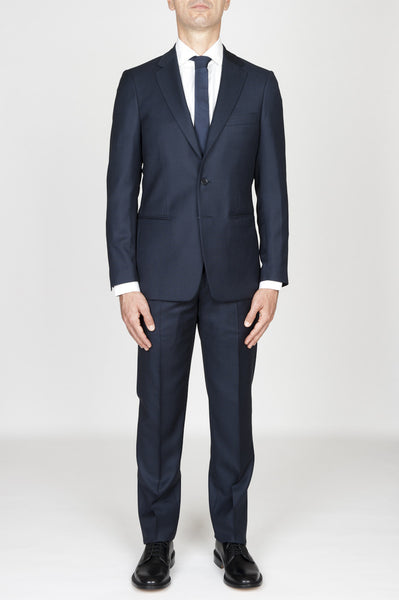 Strategic Business Unit - 00594 - Abito Blue Navy In Fresco Lana Completo Giacca E Pantalone Occhio Di Pernice - Men'S Navy Blue Cool Wool Formal Suit Partridge Eye Blazer And Trouser - メンズネイビーブルーのクールウールフォーマルスーツヤマウズラの目のブレザー、ズボン
