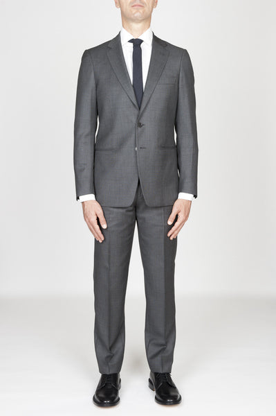 Strategic Business Unit - 00595 - Abito Grigio In Fresco Lana Completo Giacca E Pantalone Occhio Di Pernice - Men'S Grey Cool Wool Formal Suit Partridge Eye Blazer And Trouser - メンズネイビーブルーのクールウールフォーマルスーツヤマウズラの目のブレザー、ズボン