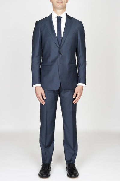 Strategic Business Unit - 00597 - Abito Blue In Fresco Lana Completo Giacca E Pantalone - Men'S Blue Cool Wool Formal Suit Blazer And Trouser - 男性用の青いクールウールフォーマルスーツブレザー、ズボン
