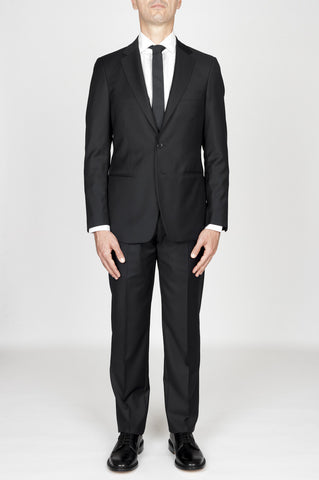 Strategic Business Unit - 00598 - Abito Nero In Fresco Lana Completo Giacca E Pantalone - Men'S Black Cool Wool Formal Suit Blazer And Trouser - メンズ黒のクールウールフォーマルスーツブレザー、ズボン