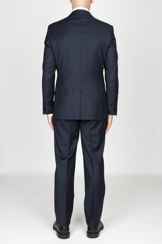 Strategic Business Unit - 00599 - Abito Blue Navy In Fresco Lana Completo Giacca E Pantalone - Men'S Blue Navy Cool Wool Formal Suit Blazer And Trouser - メンズネイビーブルー、クールウールフォーマルスーツブレザー、ズボン