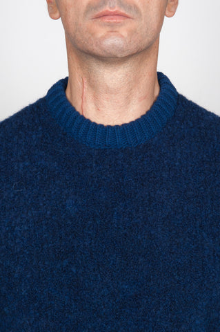 Strategic Business Unit - 00084 - Pullover Girocollo Classico Blue In Alpaca E Lana Bouclè - Classic Crew Neck Blue Sweater In Alpaca Wool Bouclè - アルパカウールブークレクラシッククルーネックセーターブルー