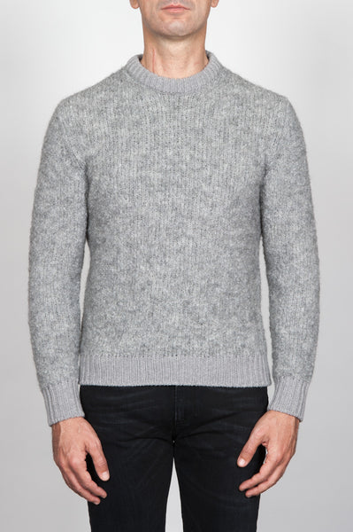 Strategic Business Unit - 00085 - Pullover Girocollo Classico Grigio In Alpaca E Lana Bouclè - Classic Crew Neck Grey Sweater In Alpaca Wool Bouclè - アルパカウールブークレクラシッククルーネックグレーセーター