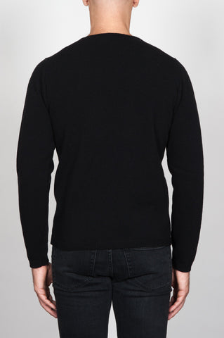Strategic Business Unit - 00086 - Pullover Giro Collo A Taglio Vivo Nero In Pura Lana - Round Neck Sweater In Black Wool Raw Cut Neckline - 黒のウールの生のカットネックラインラウンドネックセーター