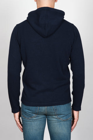 Strategic Business Unit - 00092 - Pullover Taglio Felpa Con Cappuccio Blue In Misto Cachemire - Men'S Hooded Sweater In Blue Wool And Cashmere Blend - ブルーウールとカシミアのブレンド中のメンズフード付きセーター