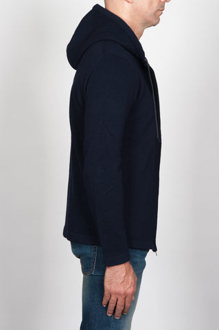 Strategic Business Unit - 00096 - Pullover Taglio Felpa Con Cappuccio E Chiusura Zip In Misto Cachemire Blue - Hooded Sweater Zip-Down Closure In Blue Wool And Cashmere Blend - ブルーウールとカシミアのブレンド中のフード付きセータージップダウン閉鎖