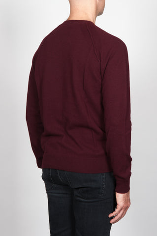 Strategic Business Unit - 00105 - Pullover Raglan Collo A Taglio Vivo Bordeaux In Lana Merino - Raglan Sweater In Dark Red Merino Wool Raw Cut Neckline - 暗赤色のメリノウール生のカットネックラインINラグランセーター