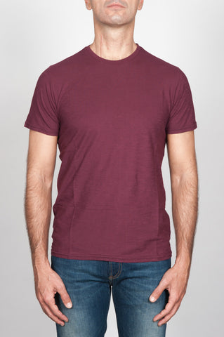Strategic Business Unit - 00110 - T-Shirt Girocollo Classica A Maniche Corte Bordeaux In Cotone - Classic Short Sleeve Crewneck T-Shirt In Burgundy Cotton Jersey - バーガンディコットンジャージーで古典的な半袖クルーネックTシャツ