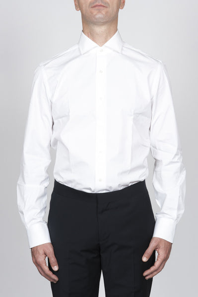 Strategic Business Unit - 00119 - Camicia Classica Da Abito Bianca In Cotone Ultraleggero - Classic Point Collar White Suit Shirt In Ultrasoft Cotton - ウルトラコットンクラシックポイントの襟白いスーツシャツ