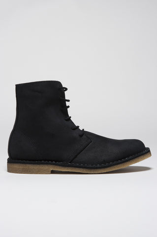 Strategic Business Unit - 00127 - Classic Desert Boots High Top Nero In Pelle Invecchiata - Classic High Top Chukka Boot In Black Aged Leather - 黒高齢レザークラシックなハイトップチャッカブーツ