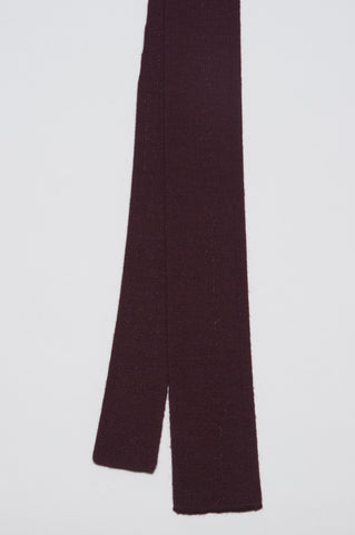 Strategic Business Unit - 00144 - Cravatta In Maglia Di Lana Merino Bordeaux - Skinny Wool Knit Tie In Dark Red Merino Wool  - 暗赤色のメリノウールスキニーウールニットネクタイ