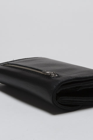 Strategic Business Unit - 00166 - Portafogli Con Portamonete Nero In Pelle Pieno Fiore - Classic Double-Fold Wallet With Coin Pouch In Black Leather - グレーのカシミアブレンドの男性のための古典的なスカーフ