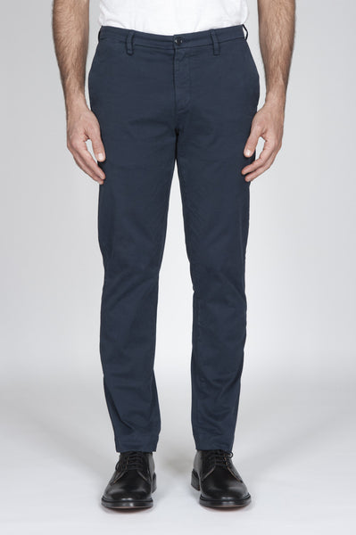 Strategic Business Unit - 00170 - Pantaloni Chino Navy Blue In Cotone Stretch Slim Fit - Chino Pants In Navy Blue Stretch Cotton Slim Fit - ネイビーブルーストレッチコットンスリムフィットでチノパンツ
