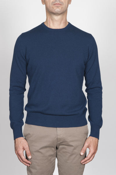 Strategic Business Unit - 00003 - Pullover Girocollo Classico Blue In Cashmere - Classic Crew Neck Sweater In Blue Cashmere - ブルーカシミアクラシッククルーネックセーター
