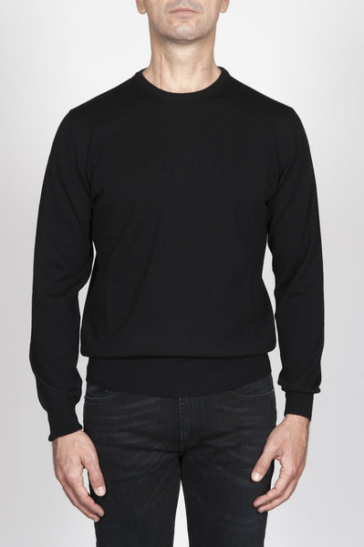 Strategic Business Unit - 00005 - Pullover Girocollo Classico Nero In Lana Merino - Classic Crew Neck Sweater In Black Merino Wool - ブラックメリノウールクラシッククルーネックセーター